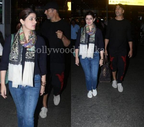 akshay kumar twinkle khanna spotted at airport