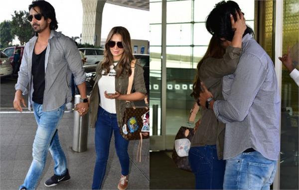 harshvardhan rane kim sharma spotted at airport