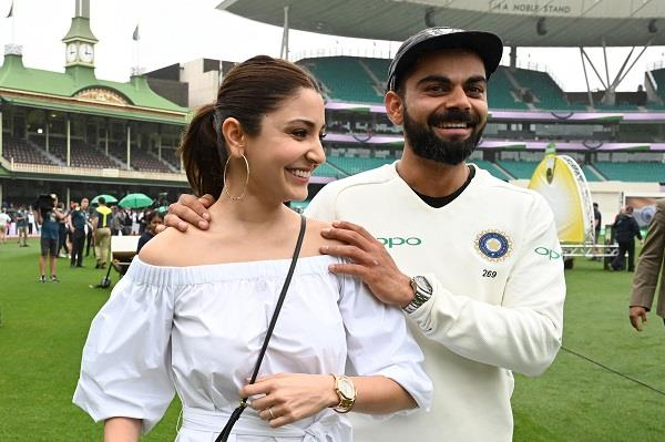 after the historic victory of the indian team kohli played anushka on the field