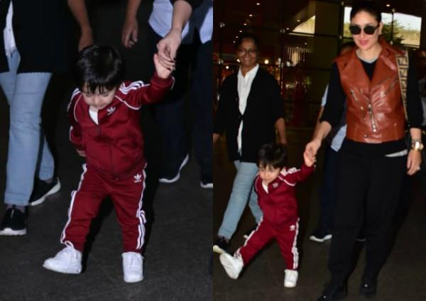 kareena spotted at airport with with taimur