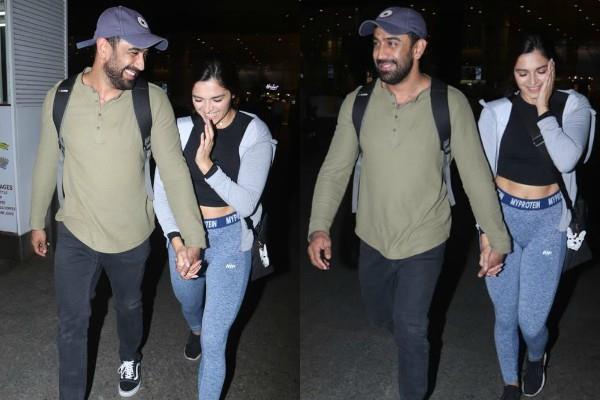 amit sadh spotted at airport with girlfriend annabel dasilv