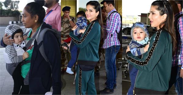 बच्चों संग एयरपोर्ट पर स्पॉट हुईं सनी, बेटे को गोद में उठाकर दिए CUTE एक्सप्रेशन