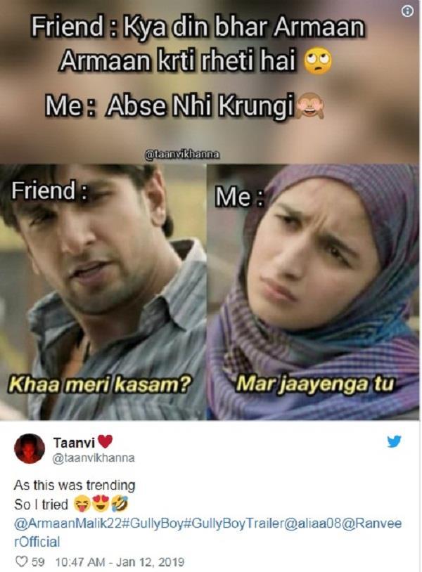 gully boy funny memes viral on social media