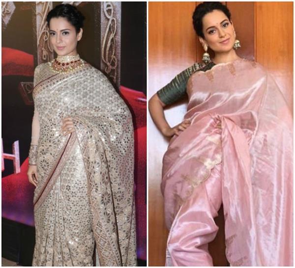 kangana ranaut looks stunning in sarees for manikarnika promotion