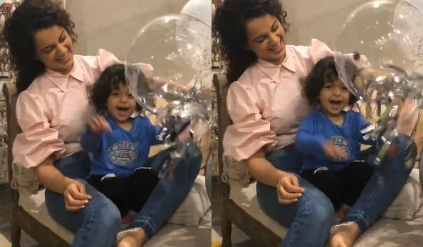kangana viral video with her nephew