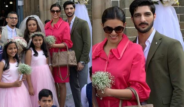 sushmita attende wedding with rohman and daughter