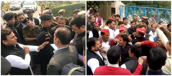 akhilesh stopped at lucknow airport angry sp members