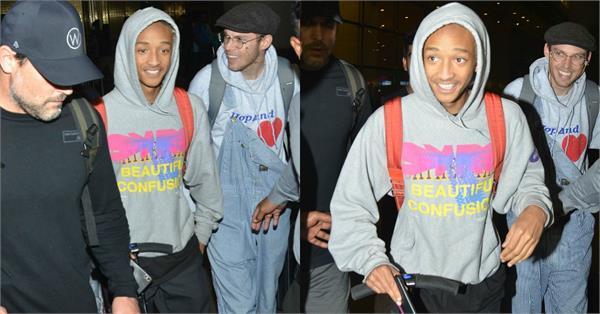 will smith son jaden at mumbai airport