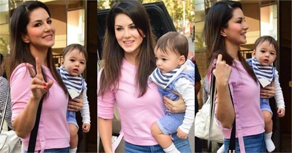 sunny leone lunch date with kid