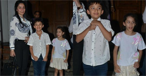 manyata spotted with her kids shahraan and iqra