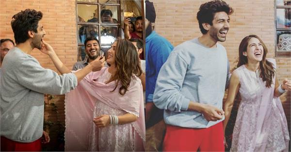 kartik aaryan sara ali khan surprise party on set of imtiaz ali film