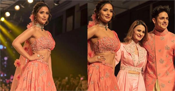 hina khan priyank sharma walked on ramp for bombay times fashion week
