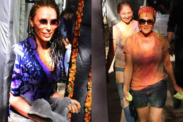 bollywood stars enjoying holi