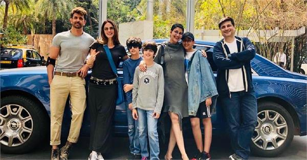 sonali bendre sunday outing with hrithik roshan sussanne khan