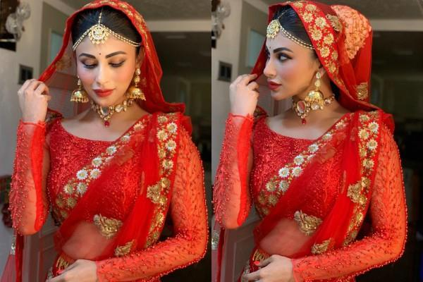 mouni roy red lehenga beautiful pictures