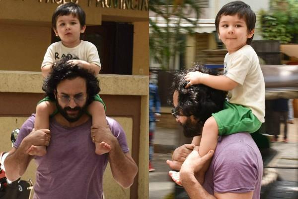 taimur ali khan in a fun mood with papa saif ali khan