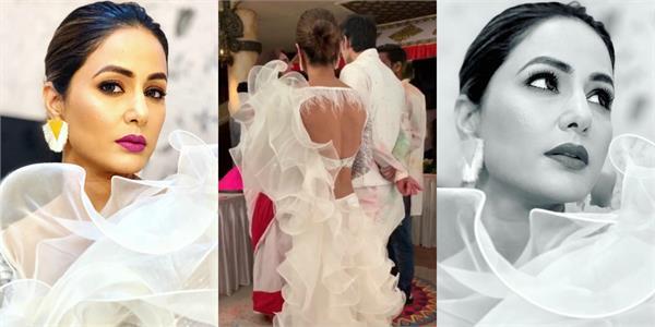 hina khan look gorgeous in white dress
