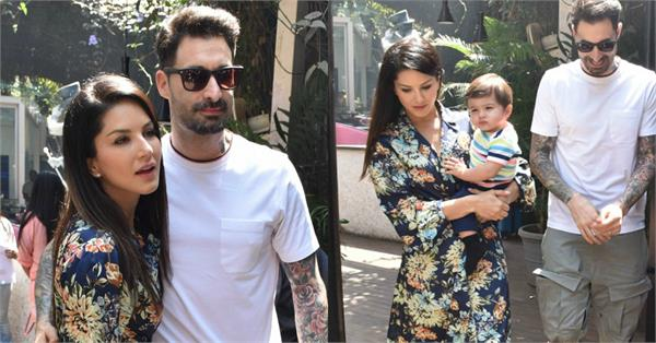 sunny leone spend her sunday with husband daniel weber and twins