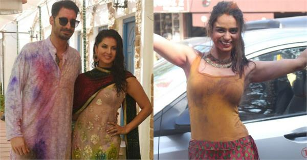 sunny leone soundarya sharma holi celebration pictures