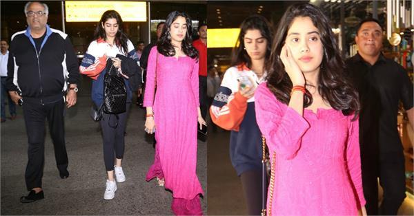 janhvi boney khushi kapoor spotted at airport