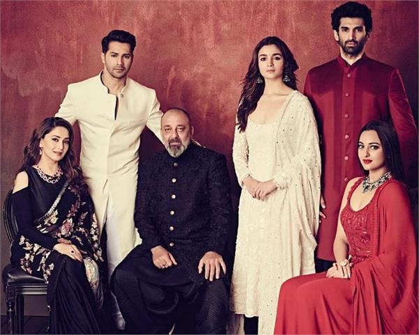 starcast of kalank in manish malhotra collection for the teaser launch