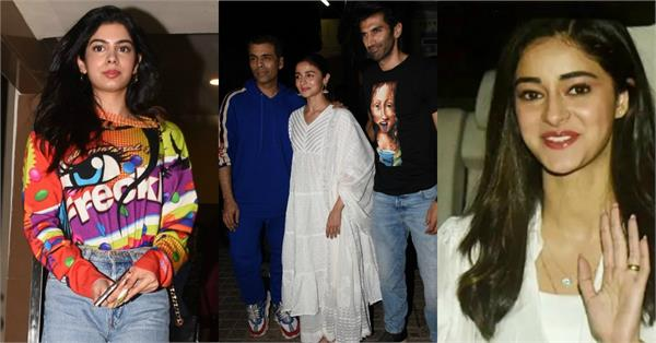 janhvi kapoor ananya pandey and other celebs attend the screening of kalank