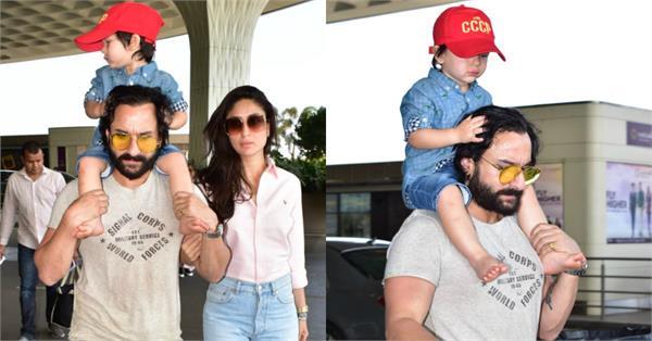 taimur spotted at airport with kareena saif