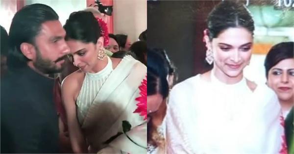 पति रणवीर के साथ शादी अटेंड करने पहुंची दीपिका, व्हाइट साड़ी में दिख रहीं हैं बला की खूबसूरत