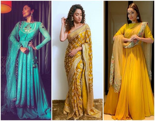 manikarnika actress ankita lokhande looks regal in this blue ethnic outfit