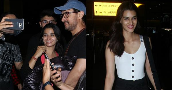 aamir khan kriti sanon spotted at airport