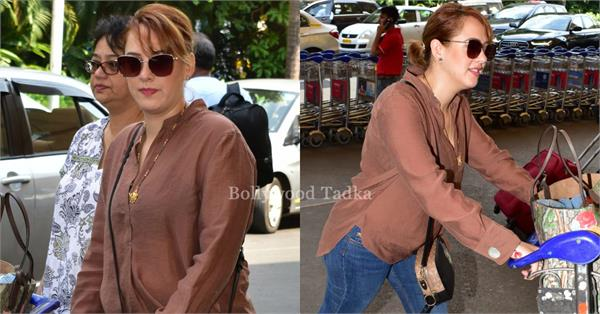 hazel keech with mom spotted at airport