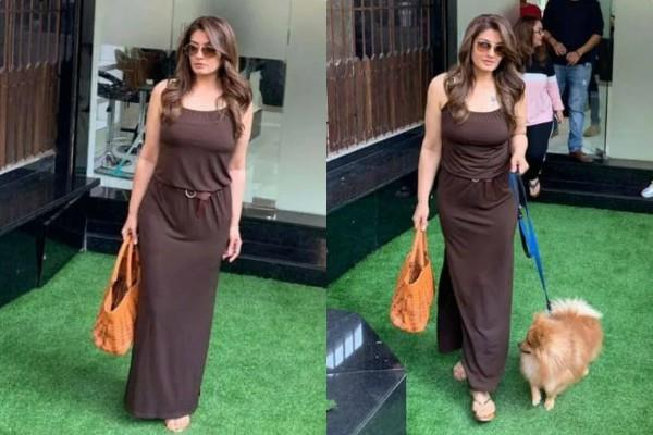 raveena tandon spotted outside salon with her dog