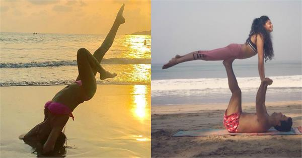 kavita kaushik hot yoga at beach