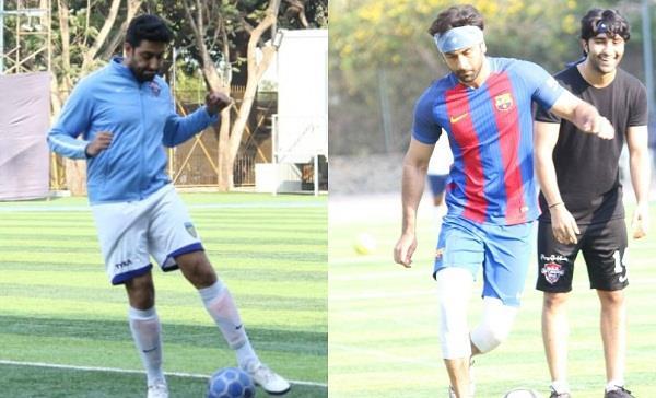 ranbir kapoor and abhishek bachchan snapped playing football