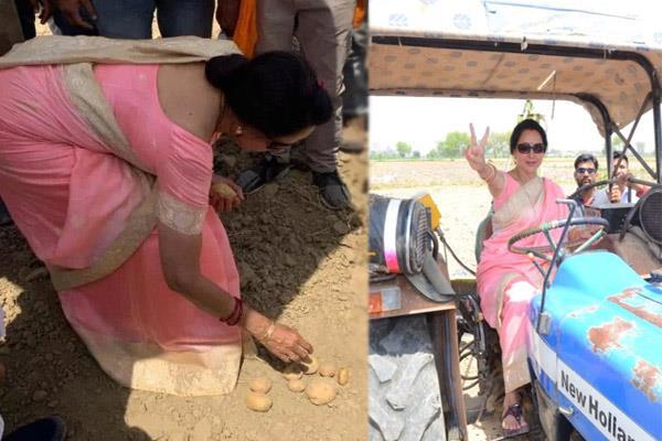 hema malini tractor photo goes viral