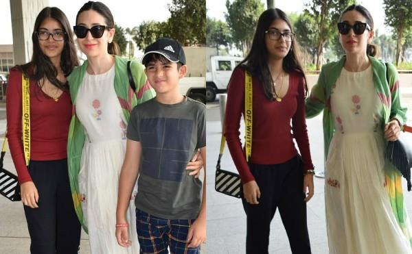 karishma kapoor spotted at airport with children