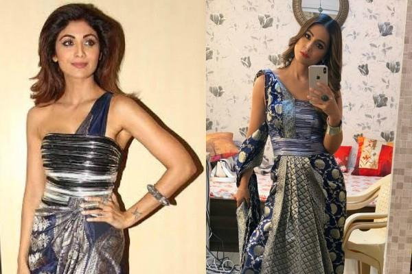 hina khan get trolled for copying a saree donned by shilpa shetty