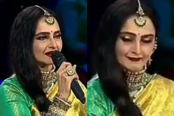 rekha reaction when a contestant call himself amitabh bachchan rising star 3