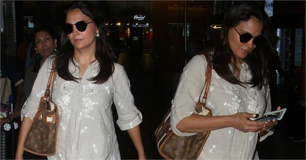 lara dutta spotted ta airport with daughter
