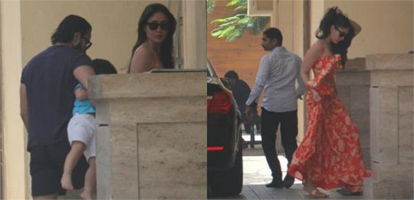 taimur spotted with saif kareena outside amrita arora house