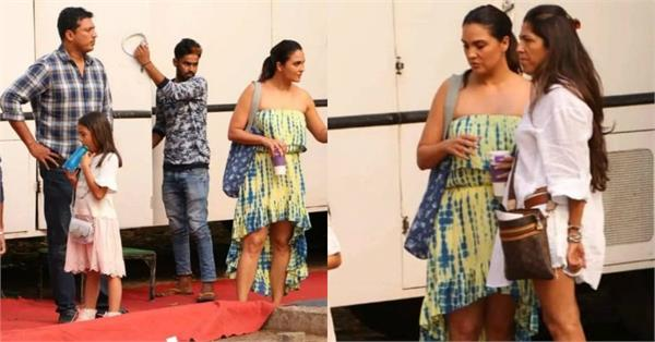 lara dutta spotted with daughter