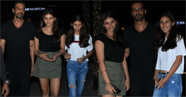 arjun rampal goes on a dinner date with daughters