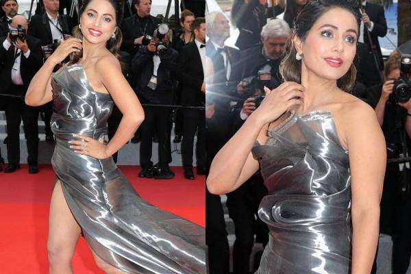 hina khan stunning look at cannes red carpet