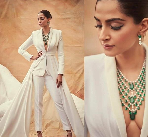 sonam kapoor wore white pant suit for cannes 2019