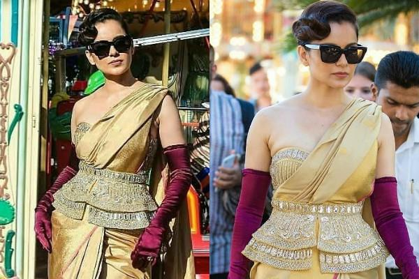 kangana ranaut royal look in kanjeevaram sari