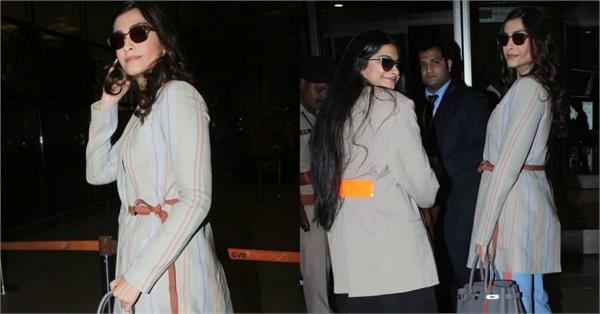 sonam kapoor spotted at airport with rhea kapoor