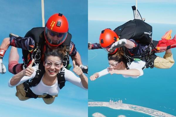 urvashi rautela do sky skydiving in dubai with friends