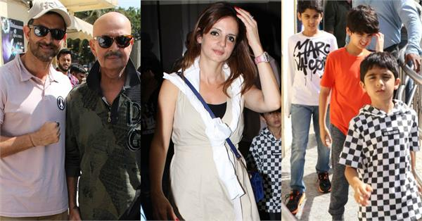 hrithik roshan sussanne khan enjoy movie with their kids and rakesh roshan