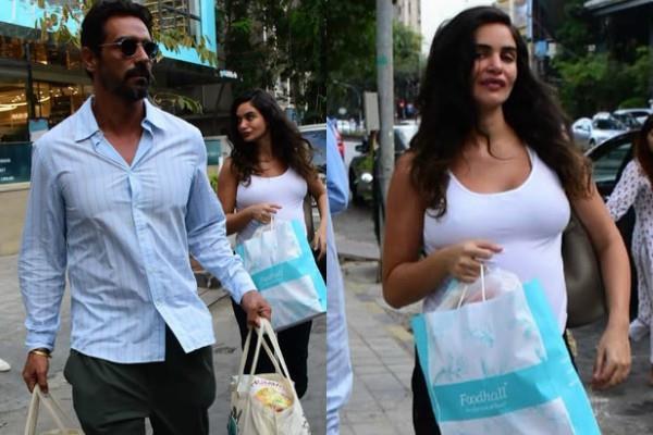 arjun rampal gabriella demetriades spotted at grocery shop
