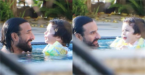 taimur ali khan cute pictures with papa saif ali khan